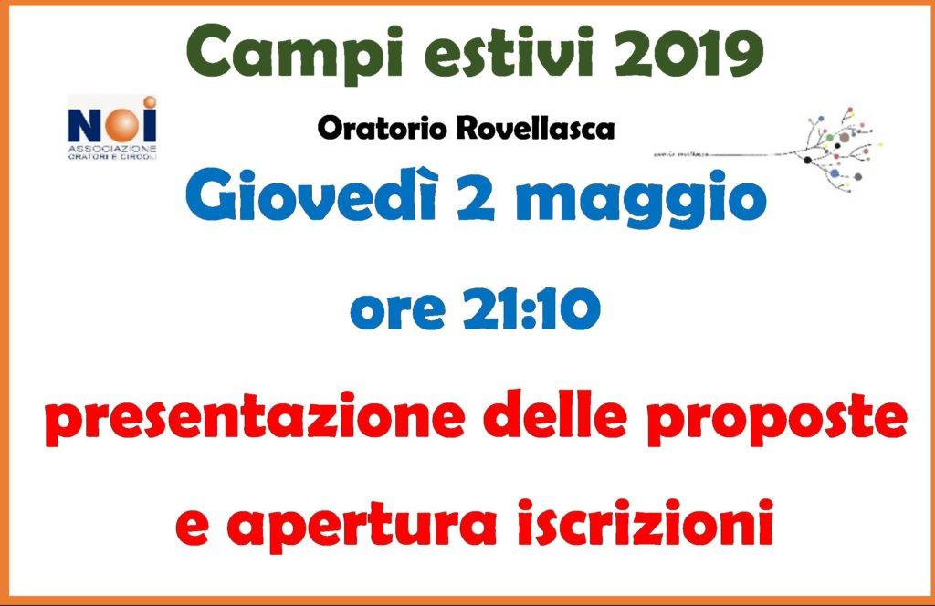 PRESENTAZIONE E ISCRIZIONE CAMPI ESTIVI 2019